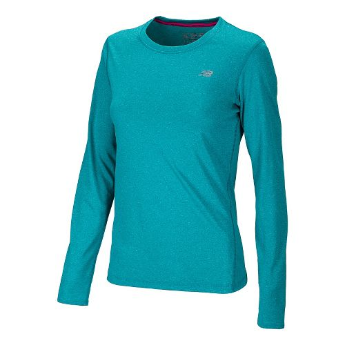 Womens New Balance Heathered Long Sleeve No Zip Technical Tops - Capri Breeze XS