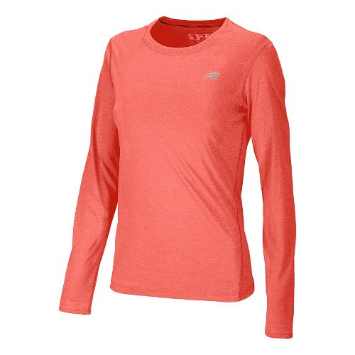 Womens New Balance Heathered Long Sleeve No Zip Technical Tops - Fiery Coral S