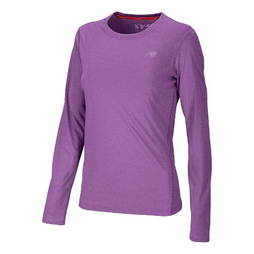 Womens New Balance Heathered Long Sleeve No Zip Technical Tops - Grape Juice L
