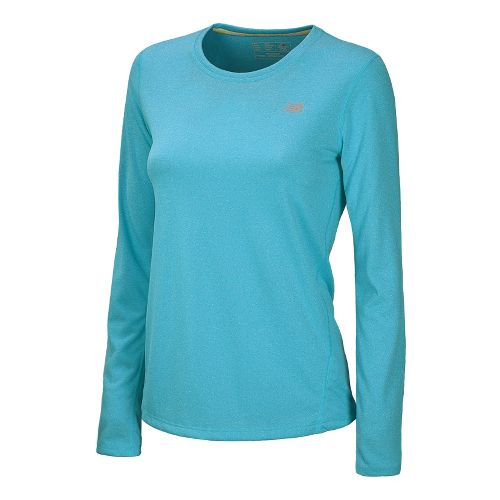 Womens New Balance Heathered Long Sleeve No Zip Technical Tops - Paradise XL