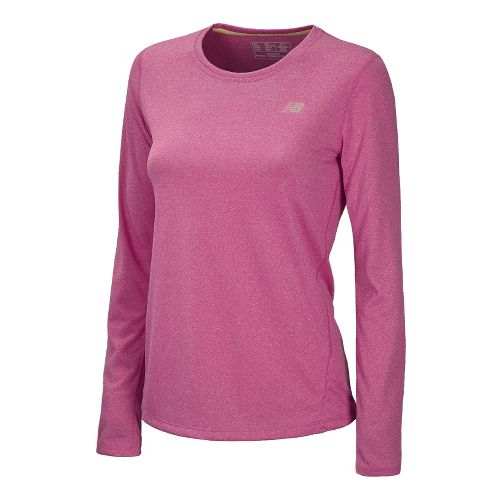 Womens New Balance Heathered Long Sleeve No Zip Technical Tops - Poisonberry L