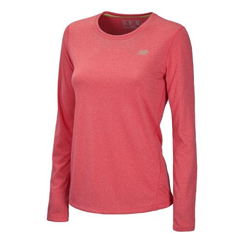 Womens New Balance Heathered Long Sleeve No Zip Technical Tops - Ruby M