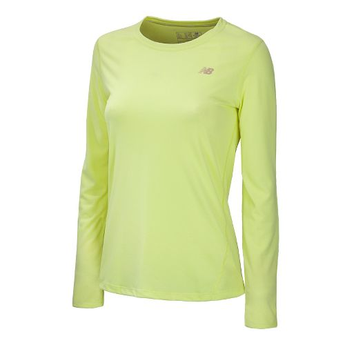 Womens New Balance Heathered Long Sleeve No Zip Technical Tops - Sunny Lime XL