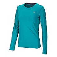 Womens New Balance Heathered Long Sleeve No Zip Technical Tops