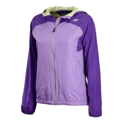 Womens New Balance Sequence Hooded Running Jackets - Amethyst L