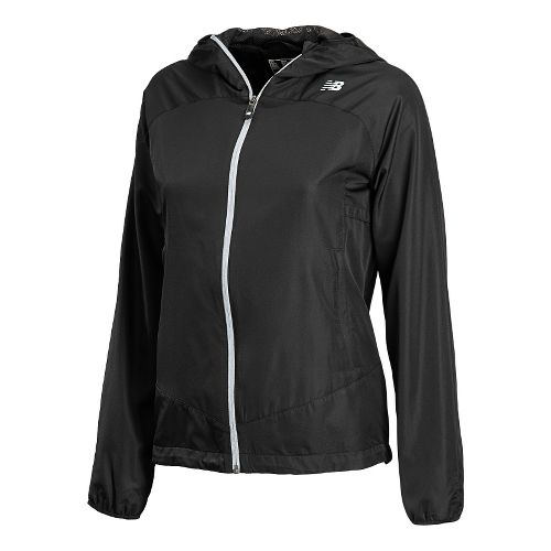 Womens New Balance Sequence Hooded Running Jackets - Black L