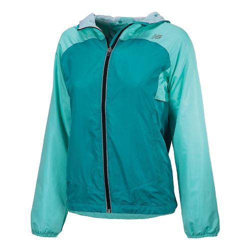 Womens New Balance Sequence Hooded Running Jackets - Capri Breeze M