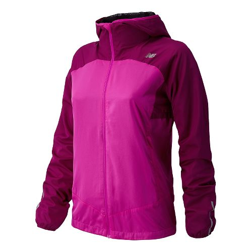 Womens New Balance Sequence Hooded Running Jackets - Poisonberry S