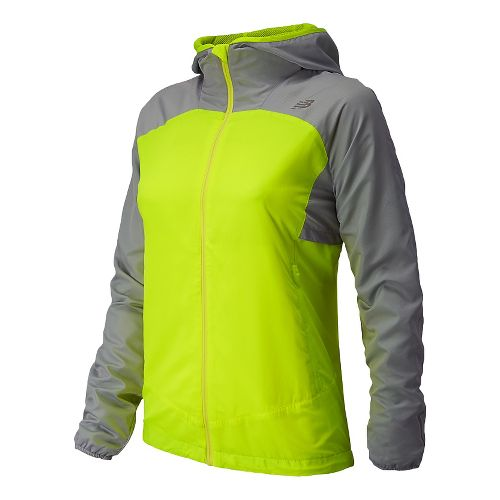 Womens New Balance Sequence Hooded Running Jackets - Solar Yellow L