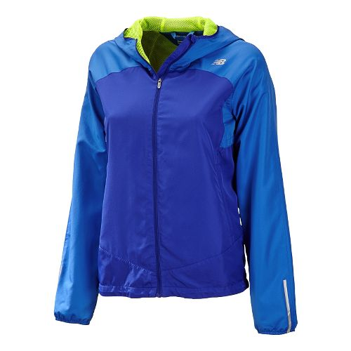 Womens New Balance Sequence Hooded Running Jackets - UV Blue L