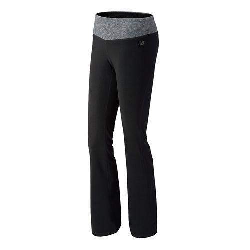 Womens New Balance The Fierce Flare Full Length Pants - Black/Black Heather M-T