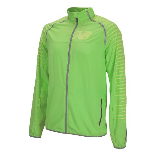 Mens New Balance Hi-Viz Beacon Running Jackets - Green Gecko L