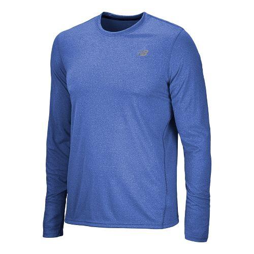 Mens New Balance Heathered Long Sleeve No Zip Technical Tops - Cobalt XL