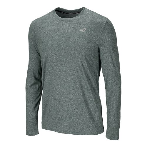 Mens New Balance Heathered Long Sleeve No Zip Technical Tops - Combat M