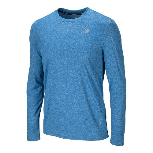 Mens New Balance Heathered Long Sleeve No Zip Technical Tops - Laser Blue S