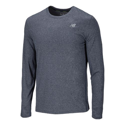 Mens New Balance Heathered Long Sleeve No Zip Technical Tops - Medieval Blue L
