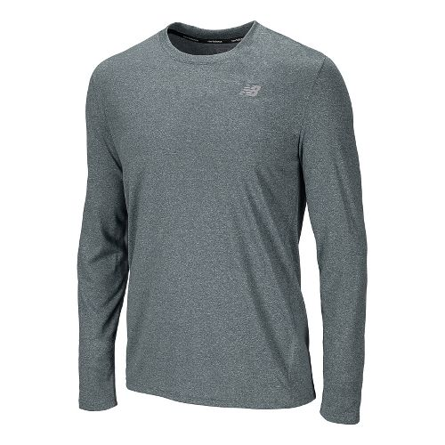 Mens New Balance Heathered Long Sleeve No Zip Technical Tops - Petrol S