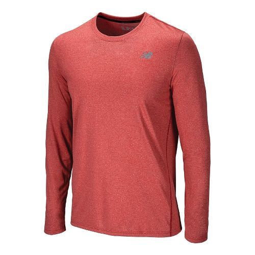 Mens New Balance Heathered Long Sleeve No Zip Technical Tops - Tango Red XS