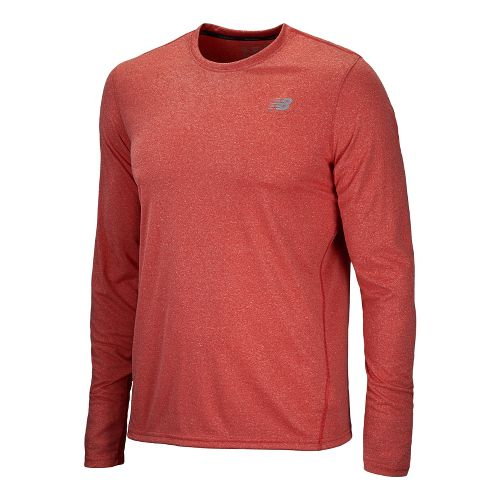 Mens New Balance Heathered Long Sleeve No Zip Technical Tops - Velocity Red S