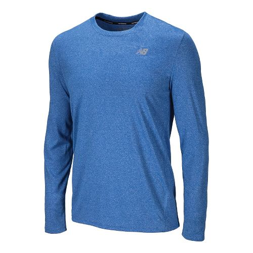 Mens New Balance Heathered Long Sleeve No Zip Technical Tops - Vision Blue M