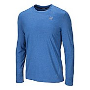 Mens New Balance Heathered Long Sleeve No Zip Technical Tops