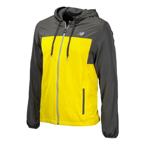 Mens New Balance Sequence Hooded Running Jackets - Atomic Yellow S