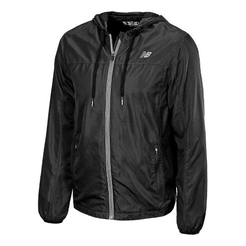 Mens New Balance Sequence Hooded Running Jackets - Black L