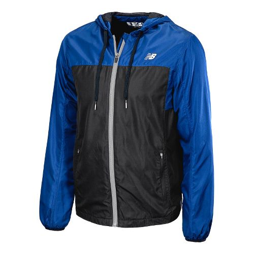 Mens New Balance Sequence Hooded Running Jackets - Cobalt L