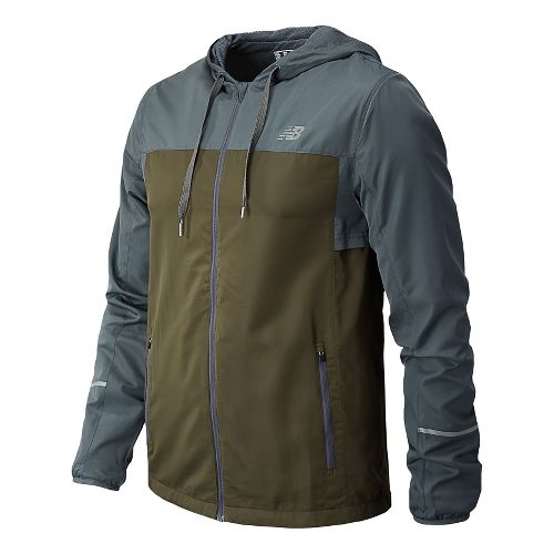 Mens New Balance Sequence Hooded Running Jackets - Combat M