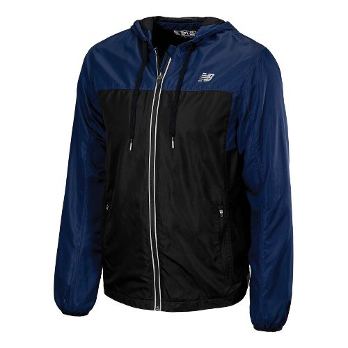Mens New Balance Sequence Hooded Running Jackets - Medieval Blue M