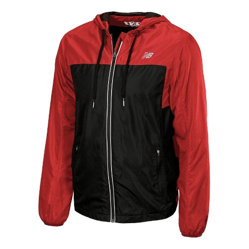 Mens New Balance Sequence Hooded Running Jackets - Tango Red L