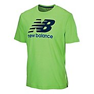 Mens New Balance Large Graphic Logo Short Sleeve Technical Tops