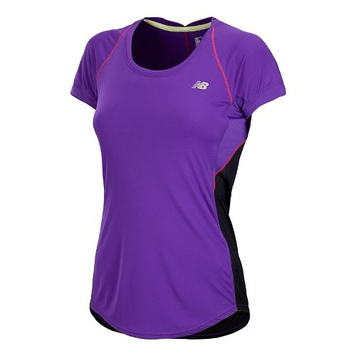 Womens New Balance Impact Short Sleeve Technical Tops - Amethyst L
