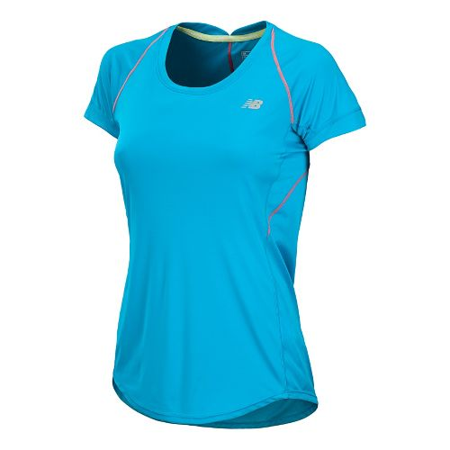 Womens New Balance Impact Short Sleeve Technical Tops - Blue Infinity M
