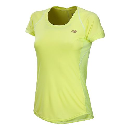 Womens New Balance Impact Short Sleeve Technical Tops - Sunny Lime L