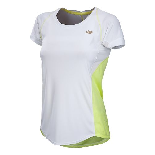 Womens New Balance Impact Short Sleeve Technical Tops - White XL