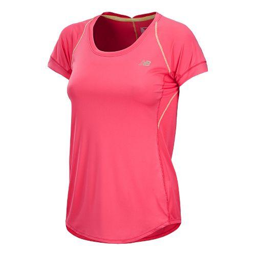 Womens New Balance Impact Short Sleeve Technical Tops - Watermelon M