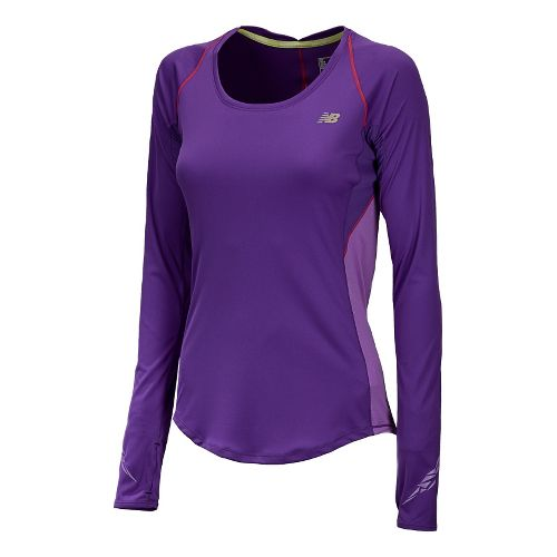Womens New Balance Impact Long Sleeve No Zip Technical Tops - Amethyst L