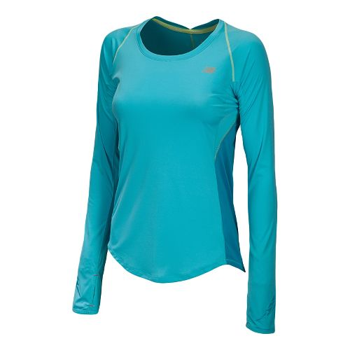 Womens New Balance Impact Long Sleeve No Zip Technical Tops - Blue Infinity S