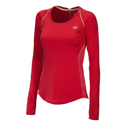 Womens New Balance Impact Long Sleeve No Zip Technical Tops - Ruby M