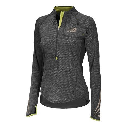 Womens New Balance Boylston Long Sleeve 1/2 Zip Technical Tops - Black XS