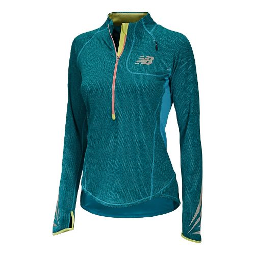 Womens New Balance Boylston Long Sleeve 1/2 Zip Technical Tops - Blue Infinity M