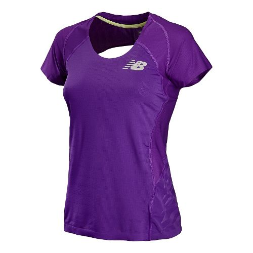 Womens New Balance Boylston Short Sleeve Technical Tops - Amethyst M