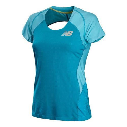 Womens New Balance Boylston Short Sleeve Technical Tops - Poolside XS