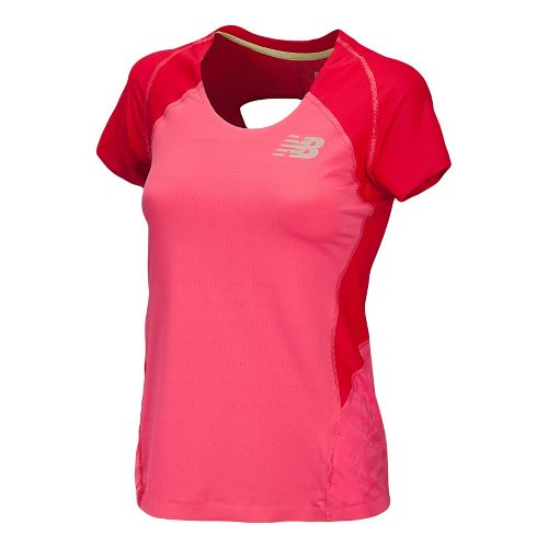 Womens New Balance Boylston Short Sleeve Technical Tops - Watermelon XS