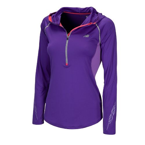 Womens New Balance Impact Hoodie Long Sleeve 1/2 Zip Technical Tops - Amethyst L