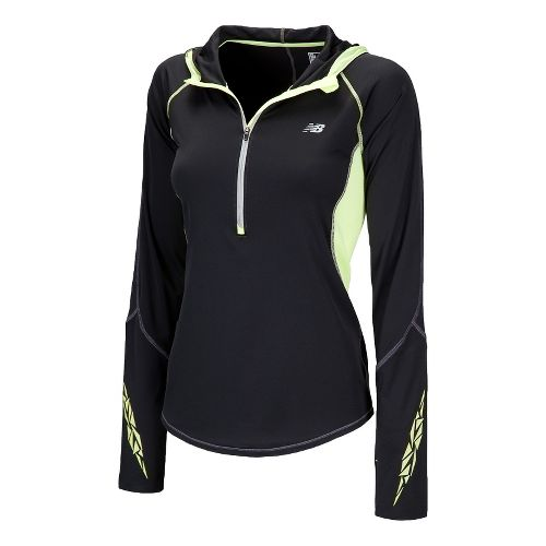 Womens New Balance Impact Hoodie Long Sleeve 1/2 Zip Technical Tops - Black S