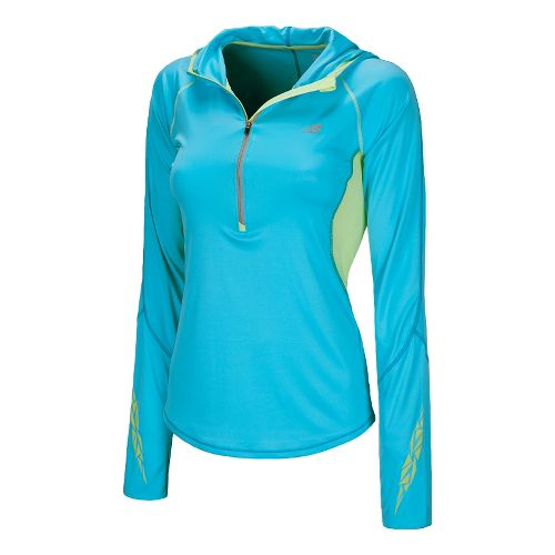 Womens New Balance Impact Hoodie Long Sleeve 1/2 Zip Technical Tops - Poolside XS