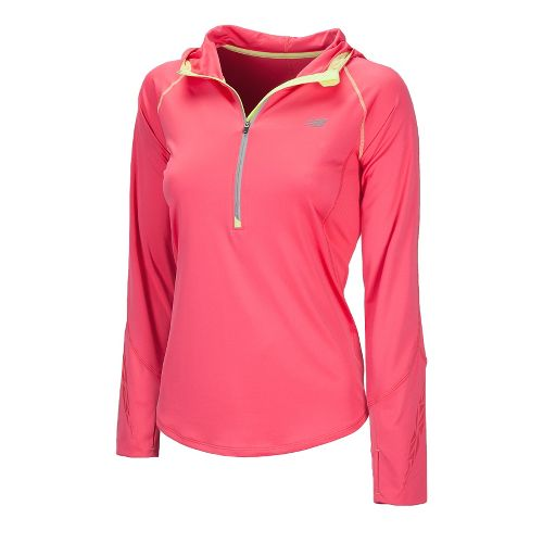 Womens New Balance Impact Hoodie Long Sleeve 1/2 Zip Technical Tops - Watermelon XS