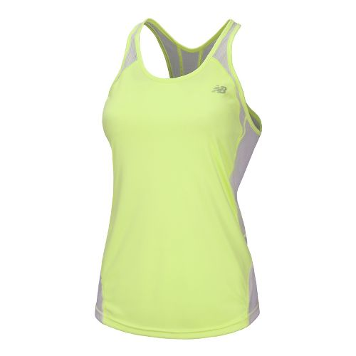 Womens New Balance Momentum Racerback Tanks Technical Tops - Sunny Lime L